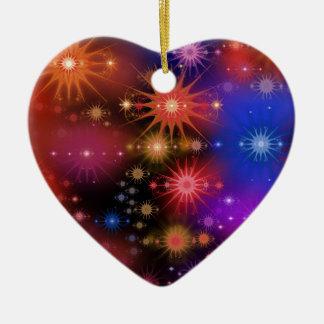 Cúmulos de estrellas adorno navideño de cerámica en forma de corazón