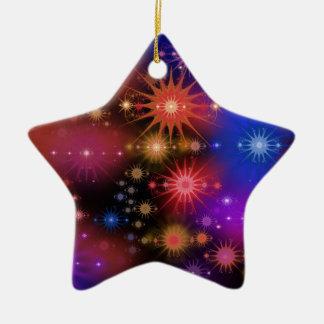 Cúmulos de estrellas adorno navideño de cerámica en forma de estrella