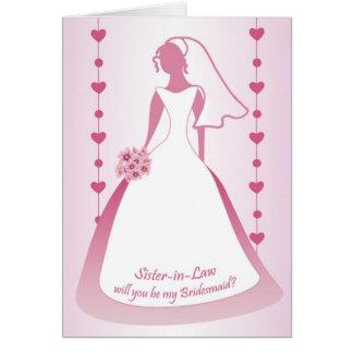 Cuñada, dama de honor, vestido blanco en rosa tarjeta de felicitación