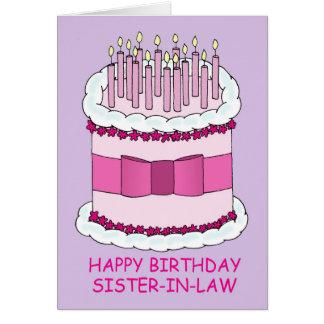 Cuñada del feliz cumpleaños, torta gigante, tarjeta de felicitación