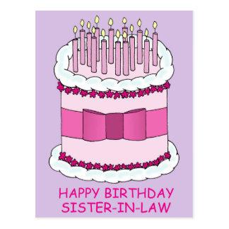 Cuñada del feliz cumpleaños, torta gigante, postal