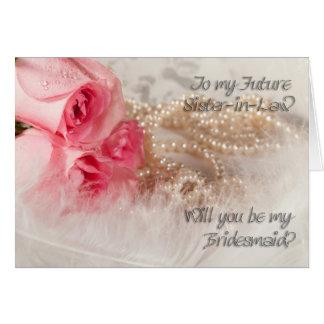 Cuñada futura, invitación de la dama de honor tarjeta de felicitación