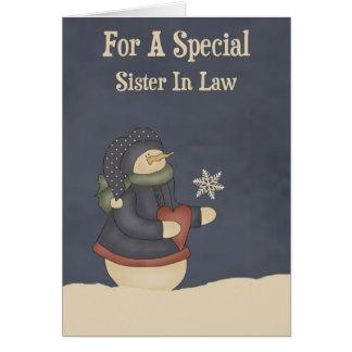 Cuñada mágica del copo de nieve del navidad tarjeta de felicitación