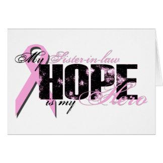 Cuñada mi héroe - esperanza del cáncer de pecho felicitacion