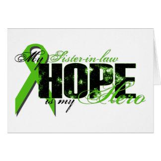 Cuñada mi héroe - esperanza del linfoma tarjeta de felicitación