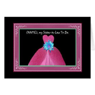 Cuñada para casar el vestido ROSADO de la Tarjeta De Felicitación