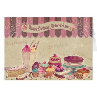 Cuñada - tarjeta de cumpleaños - tortas y dulces