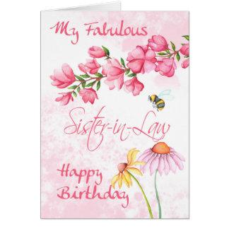 Cuñada, tarjeta floral de la escena del jardín de