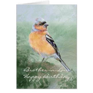 Cuñado del feliz cumpleaños del pájaro del Chaffin Tarjeta De Felicitación
