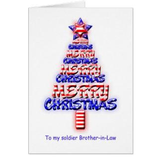 Cuñado del soldado, árbol de navidad patriótico tarjeton