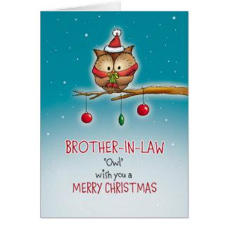Cuñado, deseo del búho usted Felices Navidad Tarjeta De Felicitación