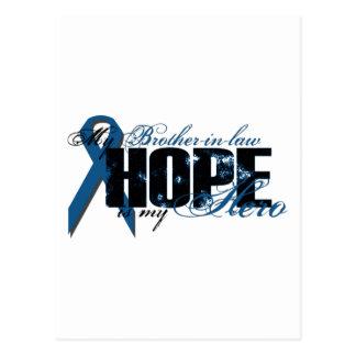 Cuñado mi héroe - esperanza del cáncer de colon tarjeta postal