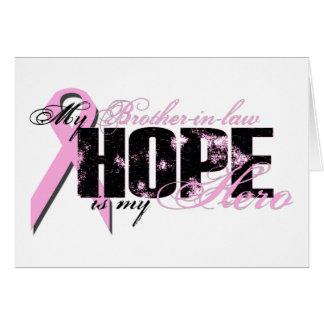 Cuñado mi héroe - esperanza del cáncer de pecho tarjeta