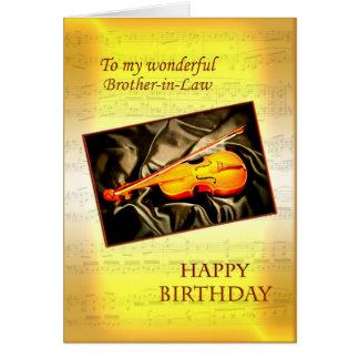 Cuñado, una tarjeta de cumpleaños con un violín