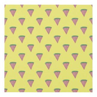 Cuñas de la sandía en acuarelas en amarillo limón cuadro