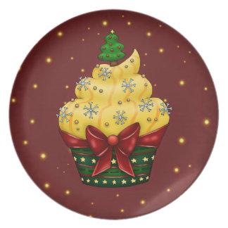Cupcake mono con árbol de navidad plato