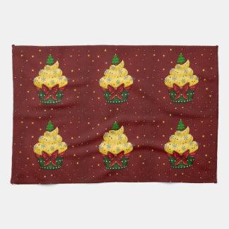 Cupcake mono con árbol de navidad toallas de cocina