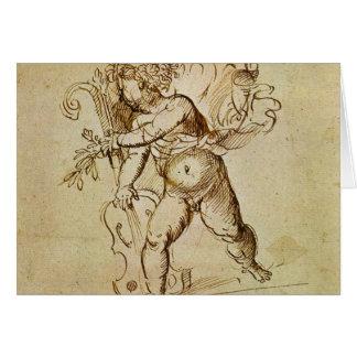 Cupid con un violín por Campagnola, arte Tarjeta De Felicitación
