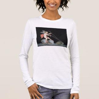 Cupid que es llevado por las tortugas (aceite en camiseta de manga larga