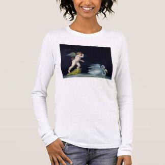 Cupid que es llevado por un par de los cisnes camiseta de manga larga