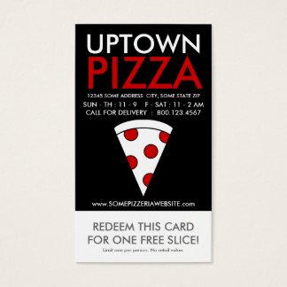 cupón de la parte alta de la rebanada de la pizza tarjeta de negocios