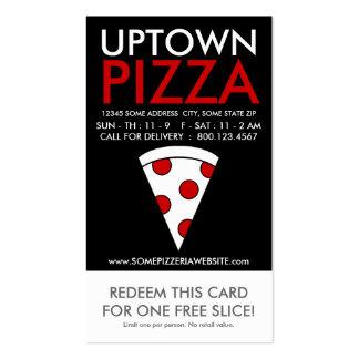 cupón de la parte alta de la rebanada de la pizza tarjetas de visita