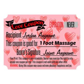Cupón del amor para el masaje del pie invitación 12,7 x 17,8 cm