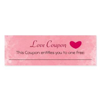 Cupón del amor tarjetas de visita mini