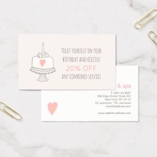 Cupón del cumpleaños del aprecio del cliente del tarjeta de visita