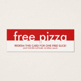 cupón libre de la pizza tarjeta de visita pequeña