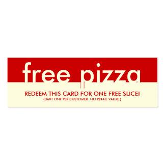 cupón libre de la pizza tarjetas de visita mini