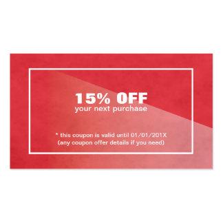 Cupón roja de la belleza de la textura elegante tarjetas de visita
