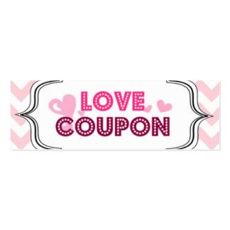Cupones del amor del el día de San Valentín Tarjetas De Visita Mini
