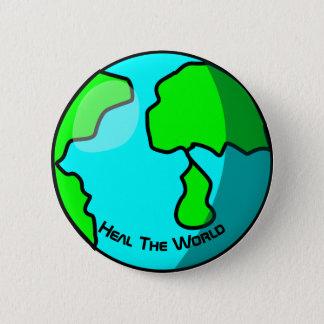 Cure el botón de la foto de la tierra del mundo
