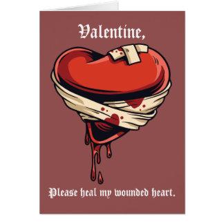 Cure mi el día de San Valentín herido del corazón Tarjeta De Felicitación