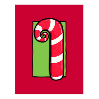 Curly Candy Cane red Postcard