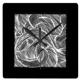 Curly Lines Reloj Cuadrado