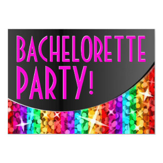 Curva 'Bachelorette Party de la raya del arco iris Invitacion Personalizada