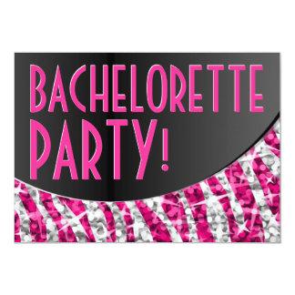 Curva 'Bachelorette Party del negro del rosa de la Invitacion Personal