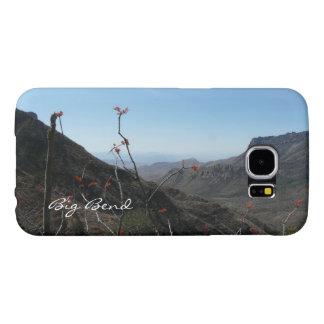Curva-Montañas grandes con las flores anaranjadas Funda Samsung Galaxy S6