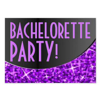 Curva negra púrpura 'Bachelorette Party del Glitz Invitación