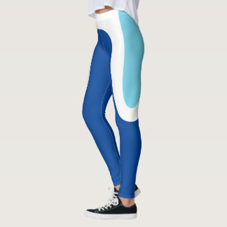 """Curvas clásicas"" azules/polainas blancas Leggings"