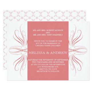 Curvas elegantes coralinas que casan el inviation invitación 12,7 x 17,8 cm