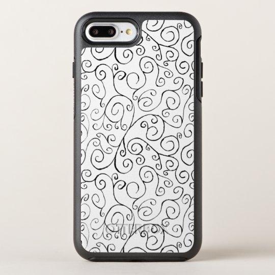 Curvas negras caprichosas del movimiento en funda OtterBox symmetry para iPhone 7 plus