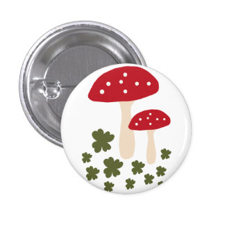 Cute hablas polka dots mushroom branch button chapa redonda de 2,5 cm