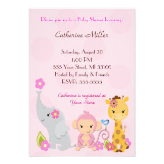 Cute Jungle Baby Shower Invitations Comunicado Personalizado