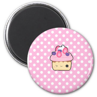 Cute pink cupcake magnet imán redondo 5 cm