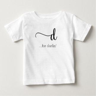 d para la camiseta del bebé del darlin