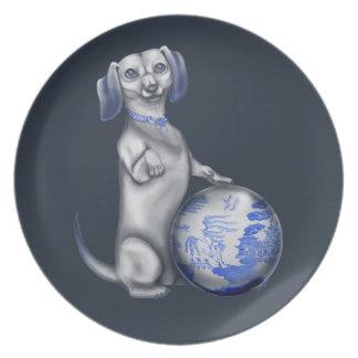 Dachshund azul del sauce platos de comidas