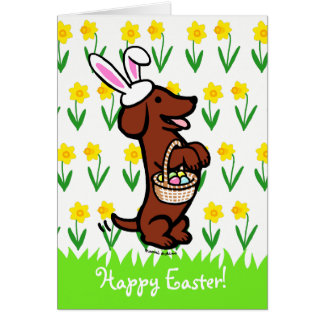 Dachshund cabelludo liso rojo del huevo de Pascua Tarjeta De Felicitación